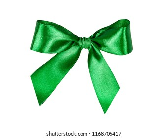 Green bow, ribbon. Isolated on white background.