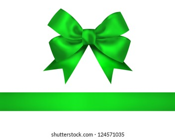 Green bow and ribbon isolated on white background. Closeup illustration