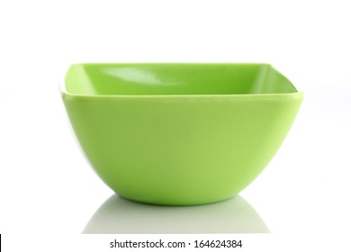 Green bowl isolated on white background