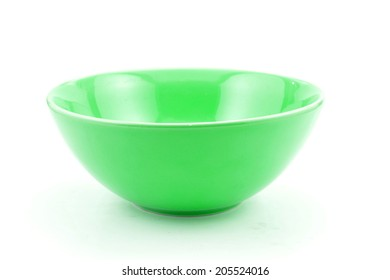 green bowl, isolated on white