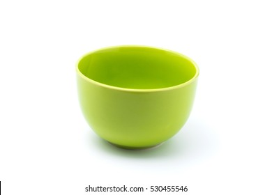 green bowl isolated with white background.