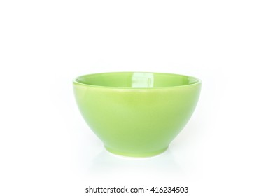 green bowl on white background