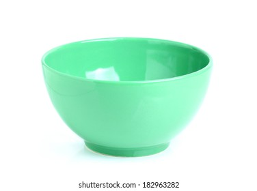 Green bowls isoleted on white background.