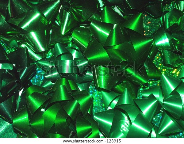 Green bows and ribbons