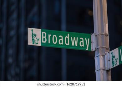 Green Broadway street sign in Manhattan New York