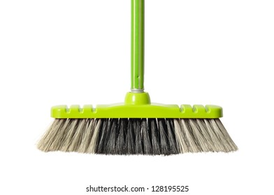 Green broom isolated on white background
