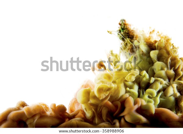 green brown abstract art ink on white isolated background