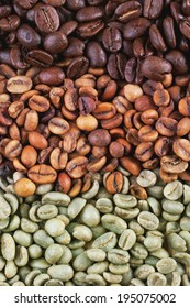 Green and brown decaf unroasted and black roasted coffee beans as background.