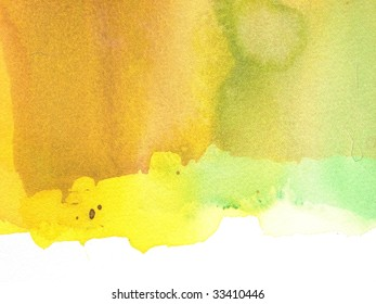 green brown and yellow abstract watercolor background