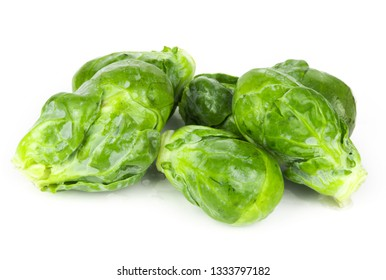 Green brussels sprout isolated on white background