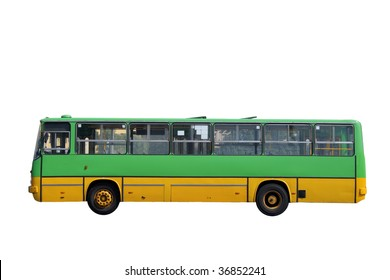 Green bus isolated on white background