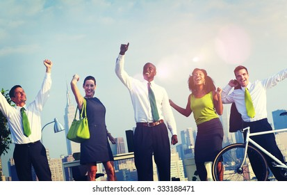 Green Business People Celebrating Successful Concept