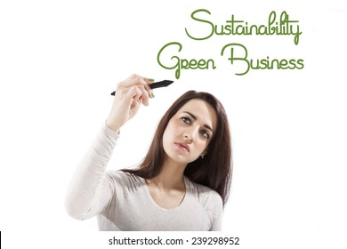 Green business and Sustainability. Beautiful girl presenting and writing the word green business and sustainability on white board, looking toward the camera.