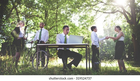 Green Business Working Business People Outdoors Concept