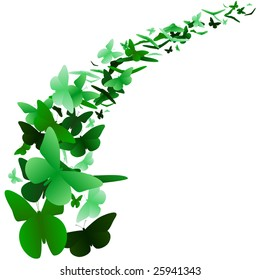 Green butterfly background - raster