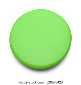 Green Button Badge with  Copy Space Isolated on White Background.