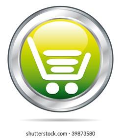 Green buy icon on a beautiful metallic button.
