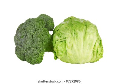 Green cabbage broccoli on white