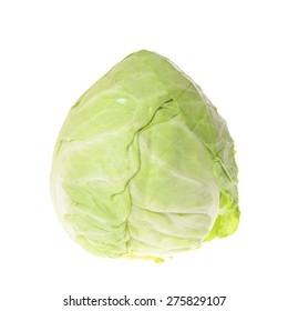 Green Cabbage. Isolated on White Background.