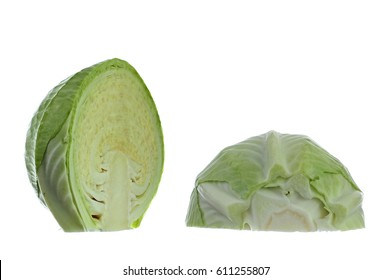 Green cabbage, two halves, studio isolated on white background