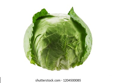 Green cabbage vegetable isolated on white background.