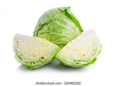Green cabbage vegetable isolated on white background