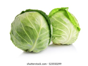 Green cabbage vegetables isolated on white background
