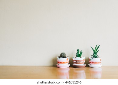 Green cactus in flower pot in farm. on wood background and space for text. used for background or material design.