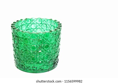 Green candle holder Placed on a white background.