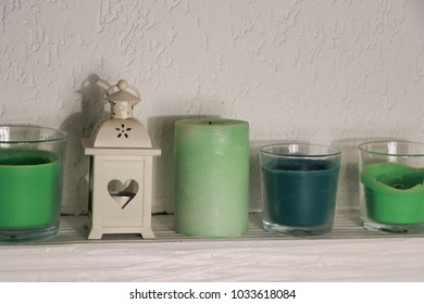 green candles for a homely atmosphere