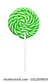 green candy lollipop isolated on a white background.