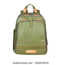 Green Canvas Backpack Isolated on White Background. School Backpack with Zippered Compartment. Travel Daypack. Satchel Rucksack. Front View of Bag with Shoulder Straps