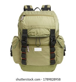 Green Canvas Backpack Isolated on White. Front View of Modern Waterproof Camping Traveler Back Pack Bag with Shoulder Straps and Haul Loop. Tactical Hiking Backpack For Travel Travel for Men