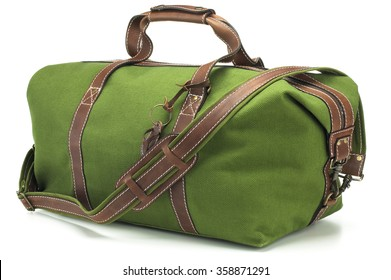 666d220fd7f2 Green Canvas and Leather Duffel Bag