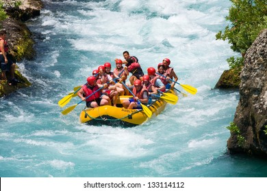 GREEN CANYON, TURKEY - JULY 10: White water rafting on the rapids of river Manavgat on July 10, 2009 in Green Canyon, Turkey. Manavgat River is one of the most popular among rafters in Turkey.