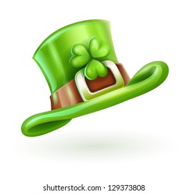 green cap of Saint Patrick's isolated on white background. Rasterized illustration. Vector version also available in my gallery.