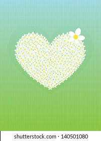 green card with big flower heart