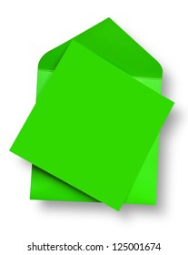 Green card and envelope with shadow (clipping path)