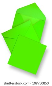 Green card and envelopes with shadow (clipping path)