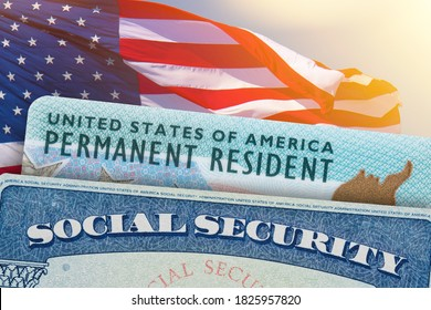 Green Card US Permanent resident USA and Social Security card. Electronic Diversity Visa Lottery DV-2022 DV Lottery Results. United States of America. American flag on background.