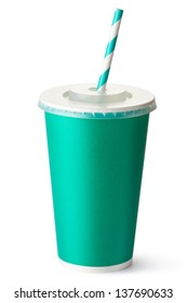 Green cardboard cup with a straw. Isolated on a white.