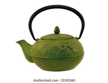 green cast-iron teapot