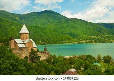Green caucasus  mountains landscape in Georgia with monastery