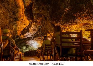 The Green Cave (Cueva de Los Verdes) is the main attraction on the island of Lanzarote. Canary Islands. Spain