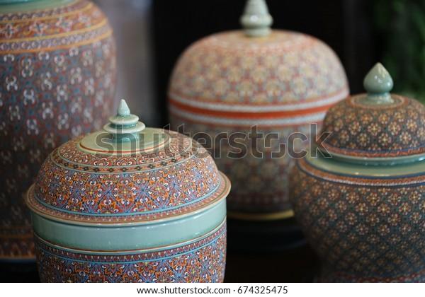 Green Ceramic Pot Shop Turquoise Glazed Stock Photo (Edit