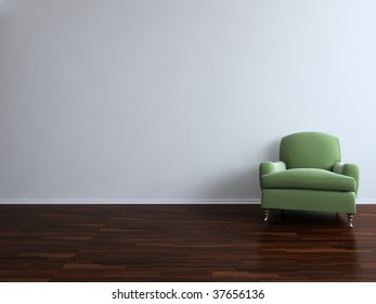 Green Chair to  face a blank white wall - with parquet - right side of view