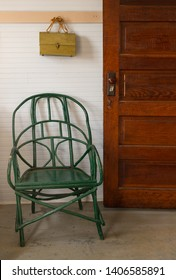 Green Chair at Schoolroom Entrance - vintage items