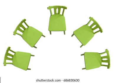 Green chairs standing on a white background in a semicircle, top view Background, isolated