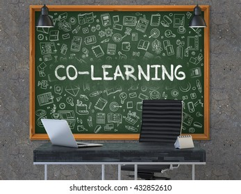 Green Chalkboard with the Text Co-Learning Hangs on the Dark Old Concrete Wall in the Interior of a Modern Office. Illustration with Doodle Style Elements. 3D.