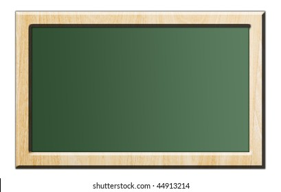 Green chalkboard with wooden frame over white background